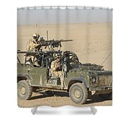 Gurkhas Patrol Afghanistan In A Land Shower Curtain by Andrew Chittock