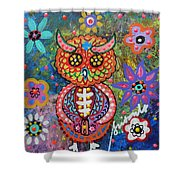 Owl Day Of The Dead Shower Curtain by Pristine Cartera Turkus
