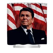 President Ronald Reagan Shower Curtain by War Is Hell Store