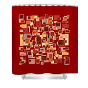 Red Abstract Rectangles Shower Curtain by Frank Tschakert