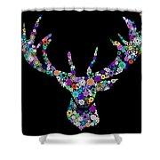 Reindeer Design By Snowflakes Shower Curtain by Setsiri Silapasuwanchai