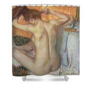 Woman Combing Her Hair Shower Curtain by Edgar Degas