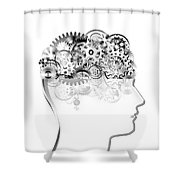 brain design by cogs and gears Shower Curtain by Setsiri Silapasuwanchai