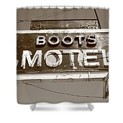 Route 66 - Boots Motel Shower Curtain by Frank Romeo