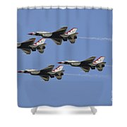 The U.s. Air Force Thunderbirds Fly Shower Curtain by Stocktrek Images