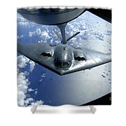 A B-2 Spirit Moves Into Position Shower Curtain by Stocktrek Images