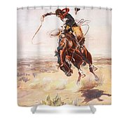 A Bad Hoss Shower Curtain by Charles Russell