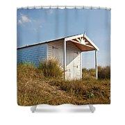 A Beach Hut In The Marram Grass At Old Hunstanton North Norfolk Shower Curtain by John Edwards