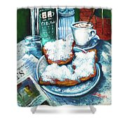 A Beignet Morning Shower Curtain by Dianne Parks