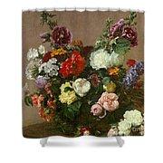 A Bouquet Of Mixed Flowers Shower Curtain by Ignace Henri Jean Fantin-Latour