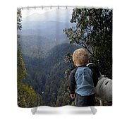 A Boy And His Dog Shower Curtain by Robert Meanor