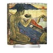 A Canoe Shower Curtain by Paul Gauguin