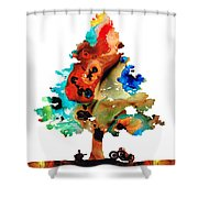 A Certain Kind Of Freedom - Guitar Motorcycle Art Print Shower Curtain by Sharon Cummings