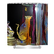 A Friend In The Dark Shower Curtain by Miki De Goodaboom