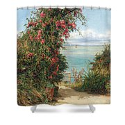A Garden By The Sea  Shower Curtain by Frank Topham