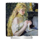 A Girl Crocheting Shower Curtain by Pierre Auguste Renoir