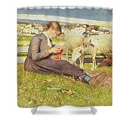 A Girl Knitting Shower Curtain by Giovanni Segantini