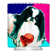 A Japanese Chin And His Toy Shower Curtain by Kathleen Sepulveda