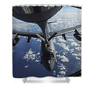 A Kc-135 Stratotanker Aircraft Refuels Shower Curtain by Stocktrek Images