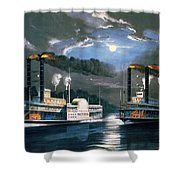 A Midnight Race On The Mississippi Shower Curtain by Currier and Ives