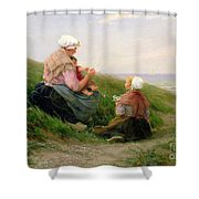 A Mother and her Small Children Shower Curtain by Edith Hume