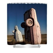 A Pink Caddilac in the Morning Shower Curtain by Jerry McElroy