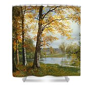 A Quiet Lake Shower Curtain by Albert Bierstadt