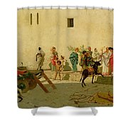 A Roman Street Scene With Musicians And A Performing Monkey Shower Curtain by Modesto Faustini