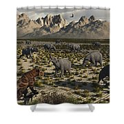 A Sabre-toothed Tiger Stalks A Herd Shower Curtain by Mark Stevenson