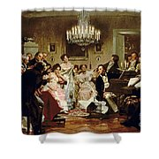 A Schubert Evening In A Vienna Salon Shower Curtain by Julius Schmid