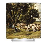 A Shepherd And His Flock Shower Curtain by Charles Emile Jacques