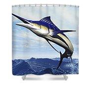 A Sleek Blue Marlin Bursts Shower Curtain by Corey Ford