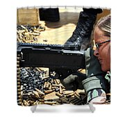 A Soldier Fires An M240b Medium Machine Shower Curtain by Stocktrek Images