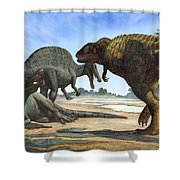 A Spinosaurus Blocks The Path Shower Curtain by Sergey Krasovskiy