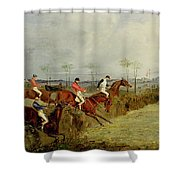 A Steeplechase - Taking A Hedge And Ditch  Shower Curtain by Henry Thomas Alken
