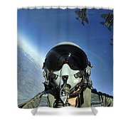 A Three-ship Formation Of F-15e Strike Shower Curtain by Stocktrek Images