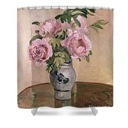 A Vase Of Peonies Shower Curtain by Camille Pissarro
