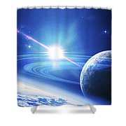 A View Of A Planet As It Looms In Close Shower Curtain by Kevin Lafin