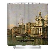 A View Of The Dogana And Santa Maria Della Salute Shower Curtain by Antonio Canaletto