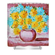 A Whole Bunch Of Daisies Shower Curtain by Ramona Matei