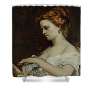 A Woman with Jewellery Shower Curtain by Gustave Courbet