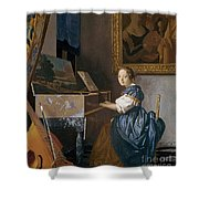 A Young Lady Seated At A Virginal Shower Curtain by Jan Vermeer