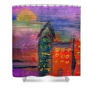Abstract - Acrylic - Lost In The City Shower Curtain by Mike Savad