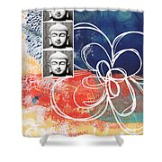 Abstract Buddha Shower Curtain by Linda Woods