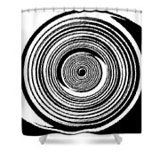 Abstract Clock Spring Shower Curtain by Will Borden