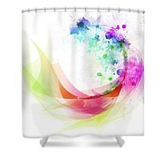 Abstract Curved Shower Curtain by Setsiri Silapasuwanchai