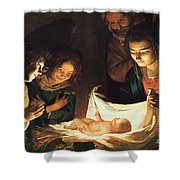 Adoration of the baby Shower Curtain by Gerrit van Honthorst