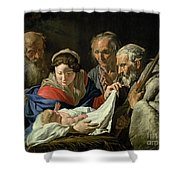 Adoration Of The Infant Jesus Shower Curtain by Stomer Matthias