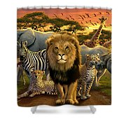 African Beasts Shower Curtain by Andrew Farley