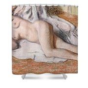After The Bath Or Reclining Nude Shower Curtain by Edgar Degas